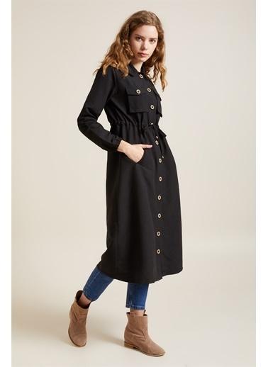 Z Giyim Beli Bağlamalı Düğmeli Trençkot Siyah